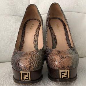 Fendi Snake Platform Heels